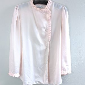 VTG Soft Pink Dior Silky Ruffle Button Sleep Top